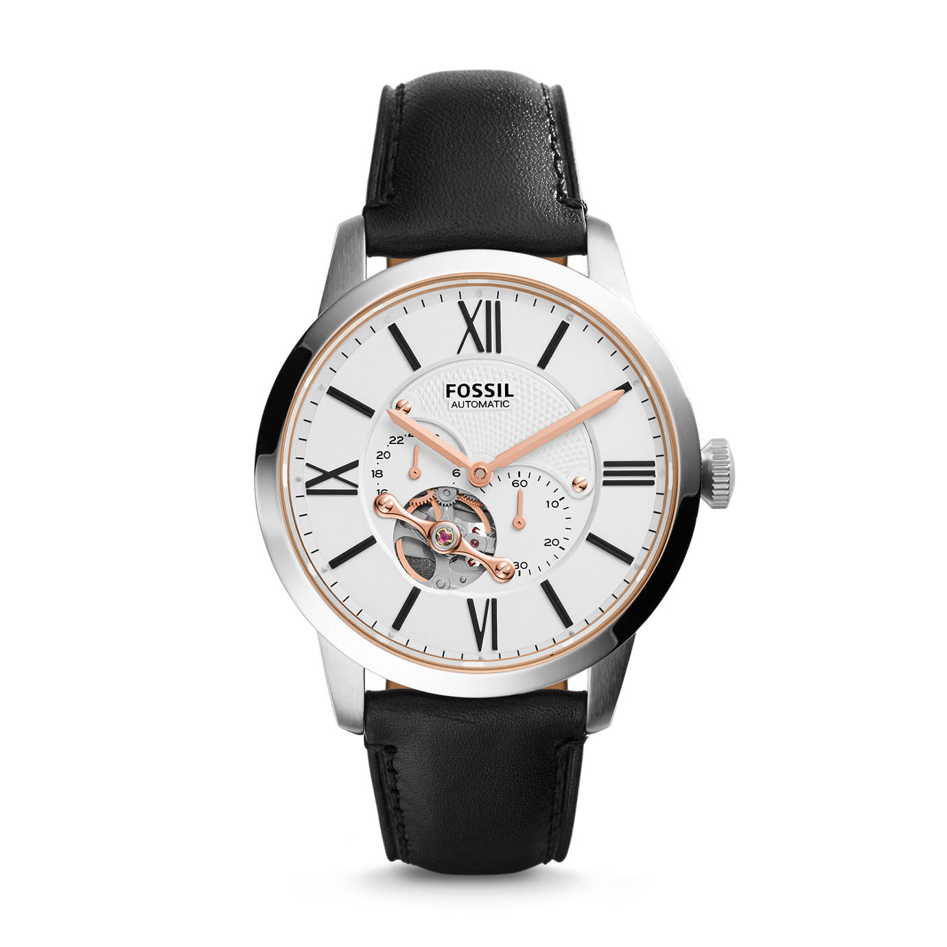Townsman Automatic Leather Watch – Black