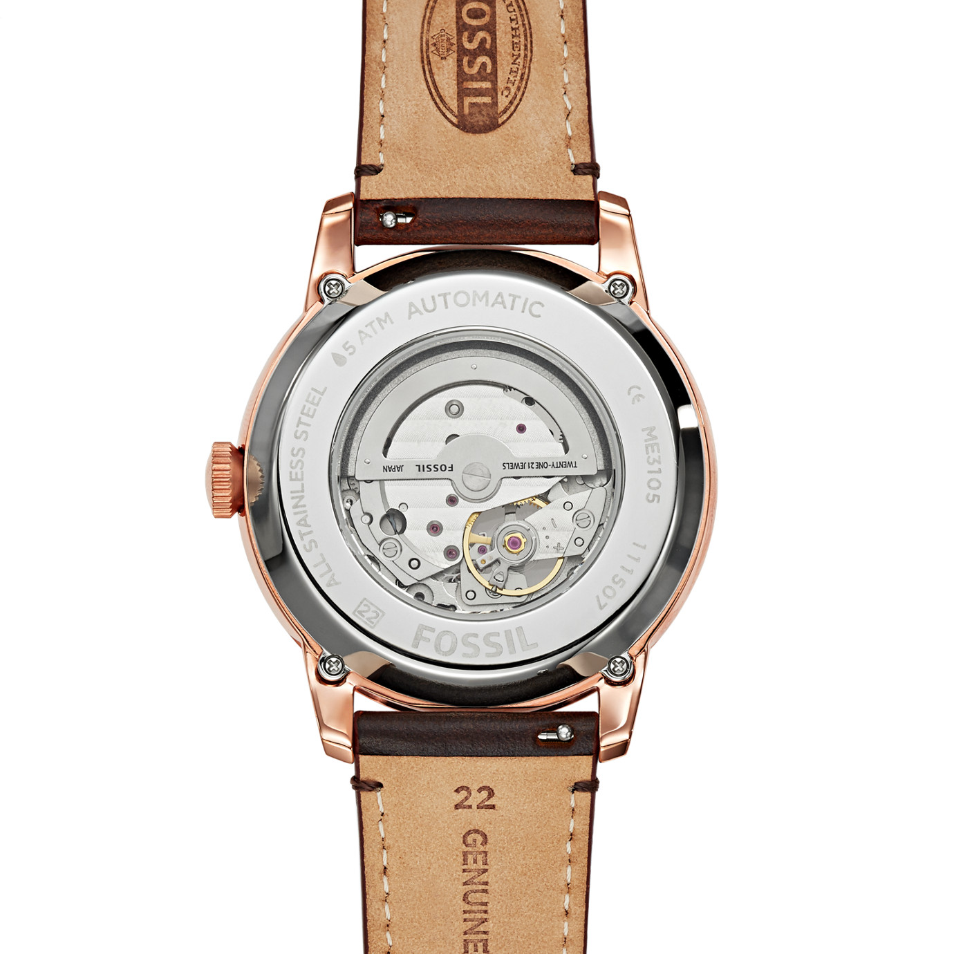 Townsman Automatic Leather Watch – Dark Brown